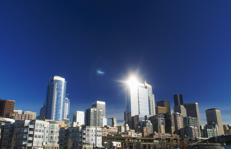 wa: Seattle city skyline against blue sky