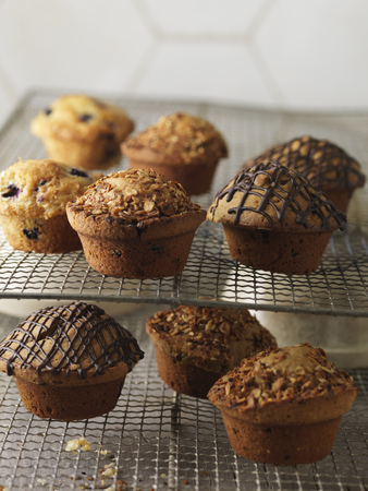 Muffins on cooling racks