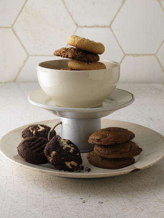 Various cookies on serving tray