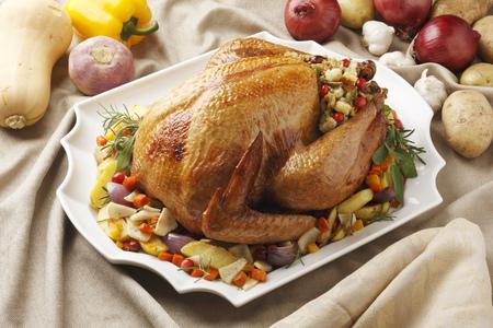 egglayer: Close up of roast chicken and vegetables LANG_EVOIMAGES