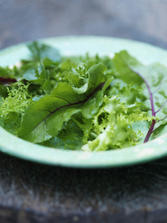uncomplicated: Close up of plate of mixed greens