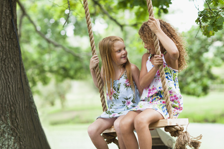 shared sharing: Smiling girls sitting in tree swing