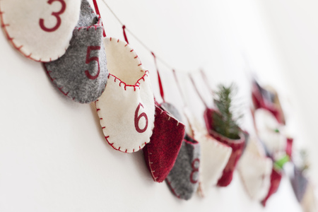 Close up of advent calendar on wall LANG_EVOIMAGES