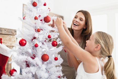 in twos: Family decorating Christmas tree