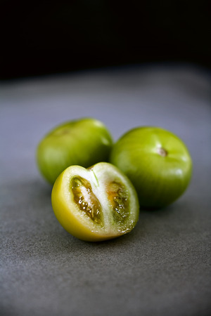 Close up of halved tomatillo