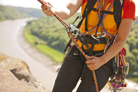 Climbers carabiners and bungee cord