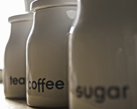 no time: Close up of coffee,tea and sugar jars LANG_EVOIMAGES