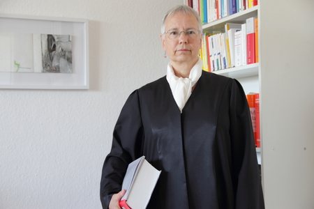 Lawyer holding text book in office