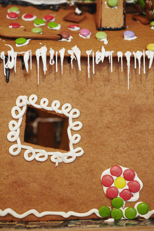 xmass: Close up of decorated gingerbread house