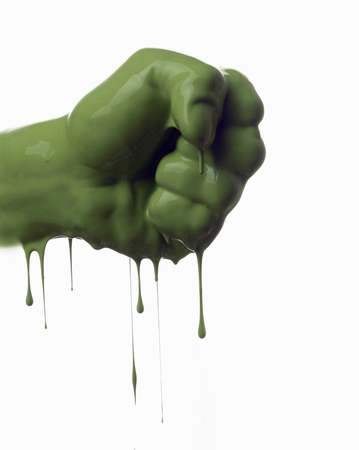 Close up of dripping green fist LANG_EVOIMAGES
