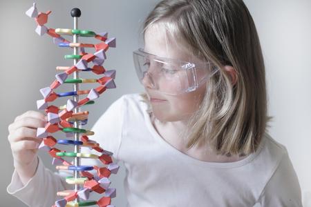 identifiers: Girl examining molecular model