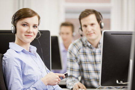 responded: Business people working in headsets