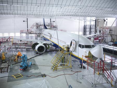 high flown: Airplane built in hangar