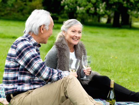 hombre sentado: Older couple drinking wine at picnic