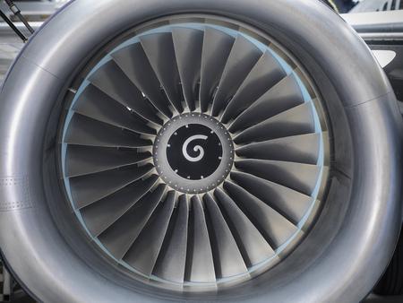 Close up of still jet airplane engine