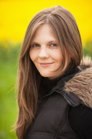 furs: Close up of womans smiling face