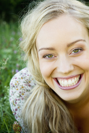 Close up of smiling womans face