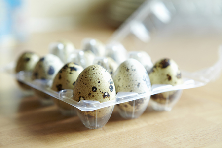 bodegones: Close up of carton of quail eggs LANG_EVOIMAGES