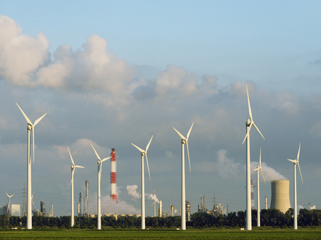 Wind turbines with nuclear smokestack