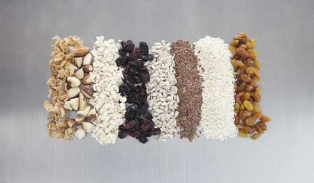 Hand made granolamuesli, with raisins, currants, oats, flax seeds, linseeds, brazil nuts, sunflower seeds