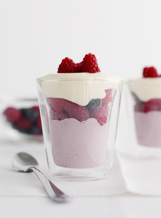 Glasses of berry coconut parfait LANG_EVOIMAGES