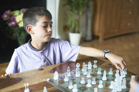 Boy playing chess in living room LANG_EVOIMAGES