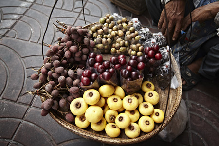 low section: Basket of fruit for sale at market