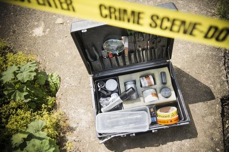 Box of forensic equipment at crime scene