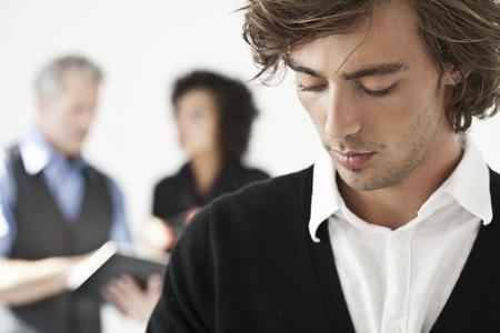 talker: Close up of businessmans face