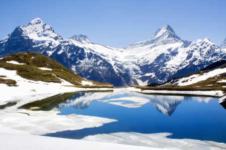 the magnificent: Snowy landscape reflected in still lake LANG_EVOIMAGES