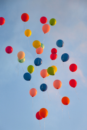ascends: Bunch of balloons floating in sky