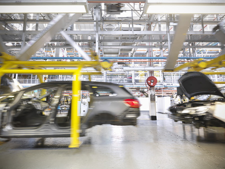 industrialization: Cars on production line in car factory