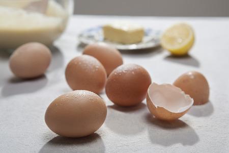 close up food: Close up of eggshells and flour
