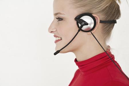 reconocimientos: Empresaria usar auriculares LANG_EVOIMAGES