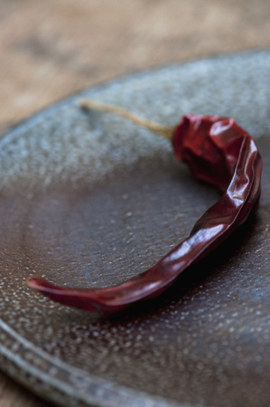 heats: Close up of dried red chili on plate