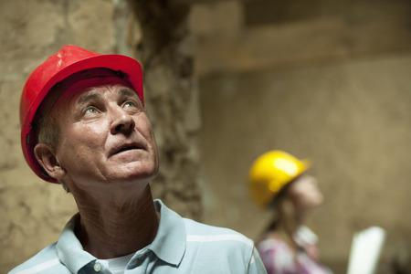 Construction worker wearing hard hat