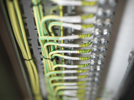 Close up of cables on computer server