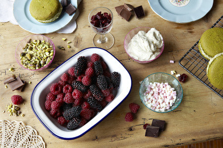 biscuits: Berries,chocolate,pudding and nuts
