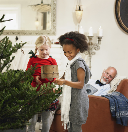 generation gap: Girls decorating Christmas tree LANG_EVOIMAGES