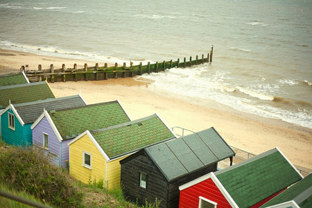 groyne: Beach huts by the sea,Southwold,Suffolk,UK LANG_EVOIMAGES