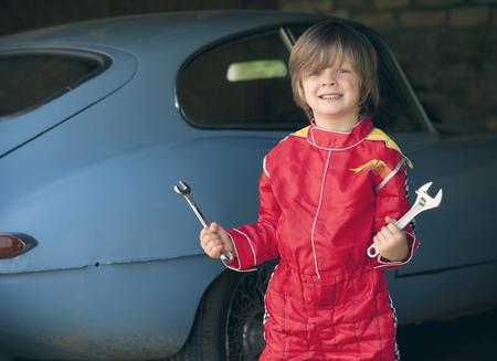 dressups: Boy wearing race car driver costume