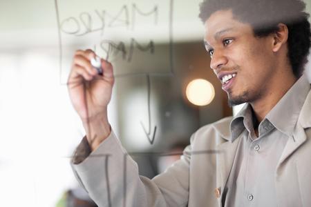 conferring: Businessman writing on window