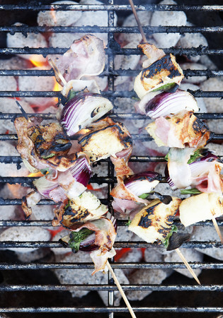 egglayer: Skewers cooking on grill