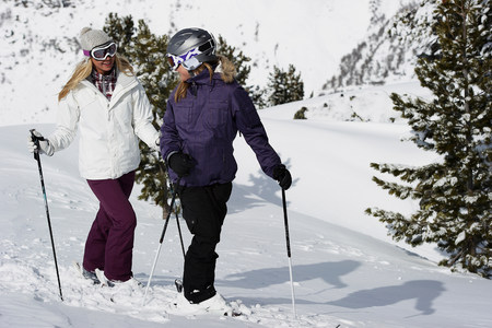 landforms: Two female skiers