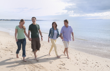rejoices: Couples holding hands on beach LANG_EVOIMAGES