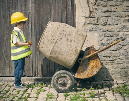 dressups: Boy playing construction with mixer
