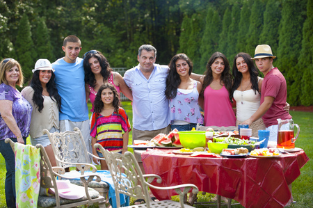 barbecues: Family standing together outdoors