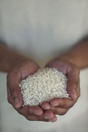 appendage: Close up of hands holding rice