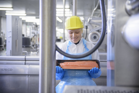 fulfill: Worker holding fish filet in factory LANG_EVOIMAGES