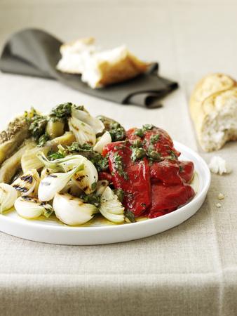 Plato de verduras guisadas en salsa